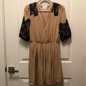 Line and Dot Tan Silk Wrap Mini Dress Black Lace